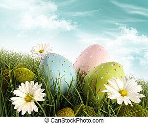 裝潢蛋, 草, 復活節, 雛菊