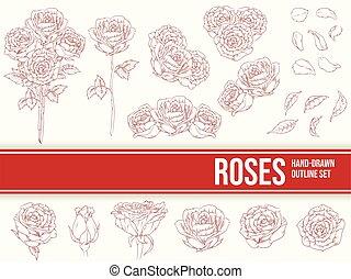 裝飾品, 花瓣, 畫, 手, outline, 略述, 花, 玫瑰, 矢量, 離開
