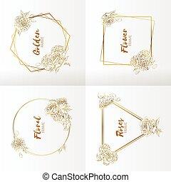 裝飾品, handdrawn, 婚禮, 框架, 花, 上升, 植物