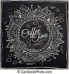 裝飾, 咖啡, border., 背景, 時間, chalkboard.
