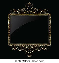 裝飾, 框架, 黑色, 金
