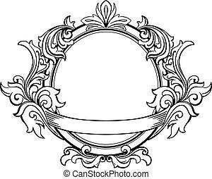 裝飾, 植物, 框架, 元素, retro