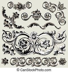 裝飾, 植物, 集合, 元素, 第一流