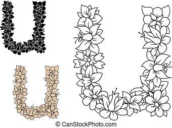 裝飾, 葡萄酒, u, 信, 圖案, 植物