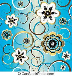 裝飾, 藍色, (vector), 圖案, seamless, 植物