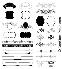 裝飾, 集合, elements., 矢量, 設計, 植物
