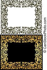 裝飾, 黃金, 框架, 元素, 植物