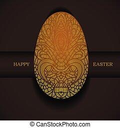 裝飾, 黃金, greeting., 復活節, egg., 假期, 旗幟, 愉快