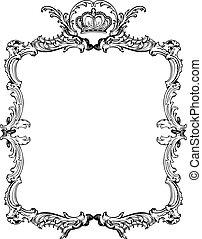 裝飾, illustration., 葡萄酒, 矢量, 裝飾華麗, frame.