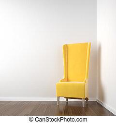 角落, 白色, 椅子, 房間, 黃色