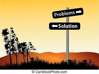 解決, 問題, 或者, 路標