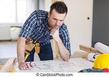 計划, 在上方, 建築物, 彎曲, 承包商, 家
