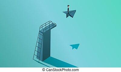 計劃, 人, 方式, 成功, 背景。, 概念, illustration., 商人, 職業, 人, 公司, future., 飛行, 戰略, 解決, 領導, 事務, 矢量, 挑戰, 機會, 方向, 視覺