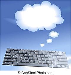 計算, 鑰匙, 電腦, 背景, 浮動, 氣泡, 認為, 雲