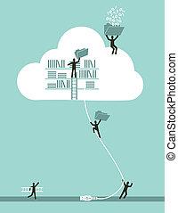 計算, 雲, 概念, 事務