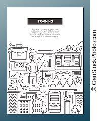 訓練, 事務, 海報, -, 設計, a4, 樣板, 小冊子, 線