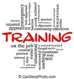 訓練, 概念, 詞, &, 黑色紅, 雲