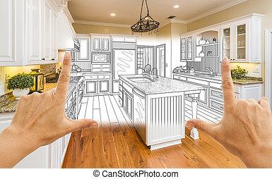 設計, 圖畫, 結合, 廚房, 取景, 相片, 手, 風俗, 廣場