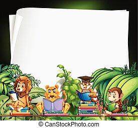設計, 書, 動物, 閱讀, 荒野, 邊框
