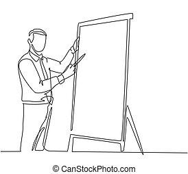 設計, 活動挂圖, 年輕, 成功, 插圖, 線, 事務, 分享, audience., 矢量, 連續, 經理, 概念, 單個, 一, 平局, 它, 訓練, 寫, 圖畫, 公式