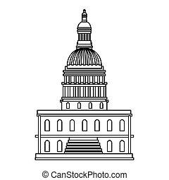 設計, 矢量, 被隔离, 美國, 州議會大廈