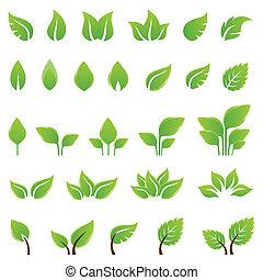 設計, 離開, 集合, 綠色, 元素