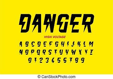 設計, 電壓, danger!, hight, 風格, 洗禮盆