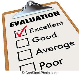 評估, 等級, 剪貼板, 報告, 評估, 卡片