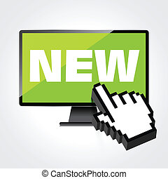 詞, 監控, 顯示, screen., 電腦, 新, high-quality, 顯示