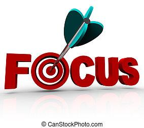 詞, 目標, 公牛眼睛, 集中, 擊中, 箭