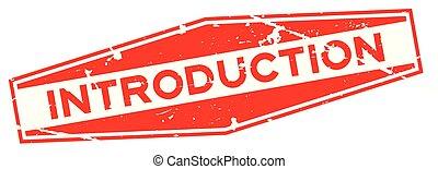 詞, 紅色, 介紹, grunge, 白色, 橡膠封印, 背景, 六角形, 郵票