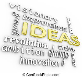 詞, 背景, -, 想法, 詞, 革新, 視覺, 3d