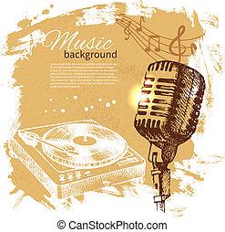 話筒, retro, 飛濺, 手, 團點, 音樂, 設計, 背景。, 葡萄酒, illustration., 畫