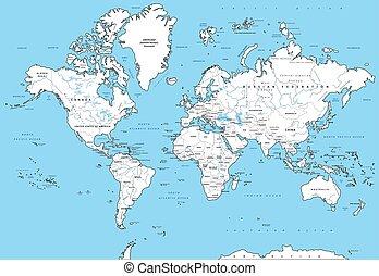 詳細, 世界, 政治, 地圖