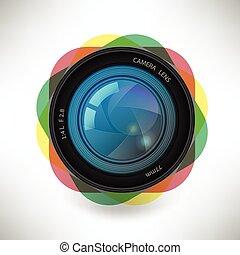 詳細, 矢量, 被隔离, 插圖, 單個, 照像機, 圖象