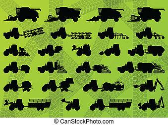 詳細, 結合, 工業, 卡車, 收割機, 拖拉机, 插圖, 設備, 黑色半面畫像, 矢量, 打洞机, 彙整, 背景, 務農, 農業