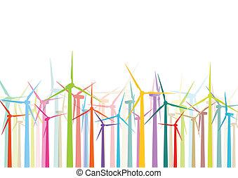 詳細, 風車, 生態學, 鮮艷, 電, 插圖, 黑色半面畫像, 矢量, 發電机, 彙整, 背景, 風