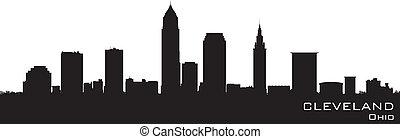 詳細, 黑色半面畫像, 矢量, 俄亥俄, skyline., 克利夫蘭