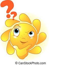 認為, 漂亮, 夏天, 太陽