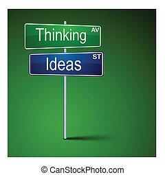 認為, 路, 想法, 方向, 徵候。