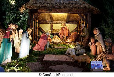 誕生, 明智, &, 人, 三, 場景, 禮物, 約瑟夫, 耶穌, 提出, 嬰孩, mary, 聖誕節