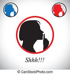 說, 概念, 嘴唇, 噪音, 女孩, 安靜, 她, &, 包含, -, 年輕, vector., 表明, 是, 婦女, 停止, 手, 使用, 提高, 圖表, 談話, 這, 食指, shh, 做, 手勢, 沉默