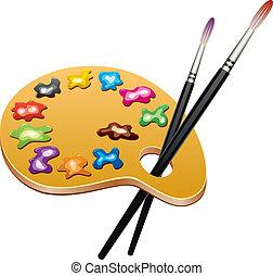 調色板, 藝術, 一滴, 木制, 刷子, 畫, 矢量