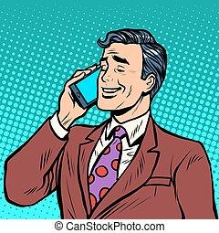 談話, 商人, 電話