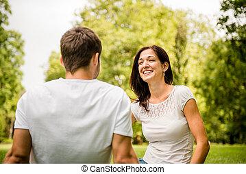 談話, 夫婦, 戶外, 年輕