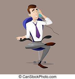 談話, 經理, 電話