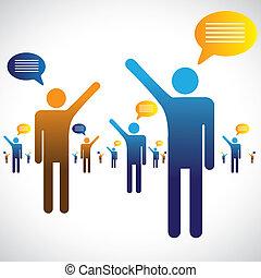 談話, 聊天, 圖象, 很多, graphic., 人們, 插圖, 一, 符號, 其他, 閒談, 或者, 講話, 顯示