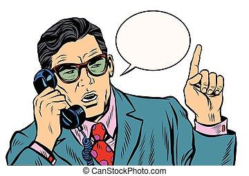 談話, 電話, 事務, 老板