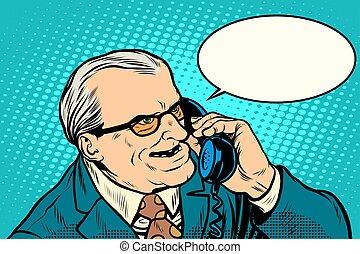談話, 電話, 憤怒, 老板