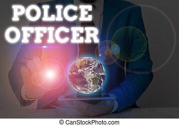 論證, showcasing, 寫, 相片, 圖像, 顯示, 法律, nasa., 元素, 官員, 提供, 這, 警察, 隊, officer., 事務, 筆記, 強制執行